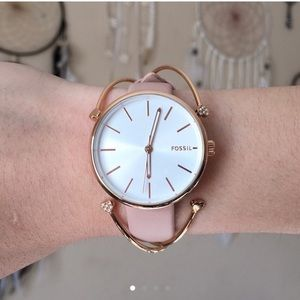 HUTTON THREE-HAND BLUSH LEATHER WATCH AND BANGLES